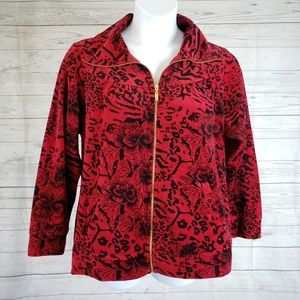 Style&co Fleece Jacket Sz 1X Red Black Floral